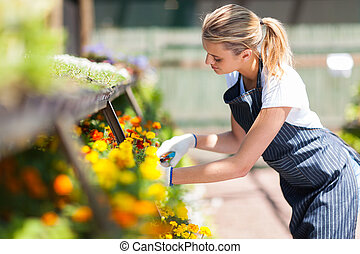 female florist working in nursery