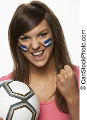 Young Female Football Fan With Honduran Flag Painted On Face