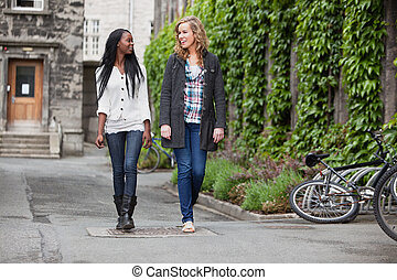 Young female friends having a chat while walking
