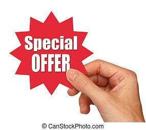 special offer star - young female hand holding a special ...