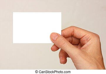 business card - young female hand holding a white business...