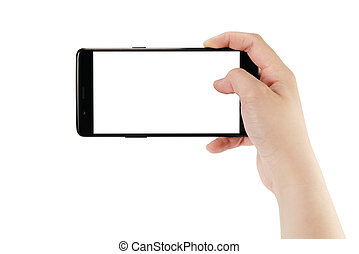 young female hand taking photo with smartphone isoalted on white