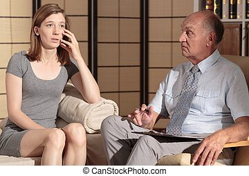 Young female having psychological care - Picture of young...