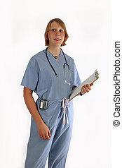 Young female nurse in scrubs
