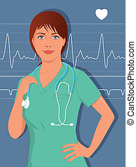 Young female nurse or doctor in scr