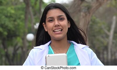 Young Female Nurse Talking