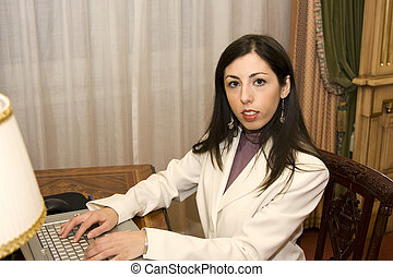 Young Female on Laptop Computer