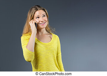 Young female on the phone