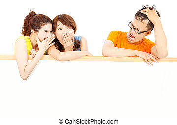 young female people whisper about the man funny events
