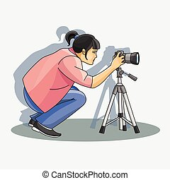 Young female photographer photographing with professional camerastanding. Vector illustration, EPS 10