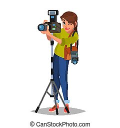 Young Female Photographer Vector. Take A Photo. Photographic...