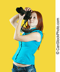 female photographer with camera - Young female photographer ...