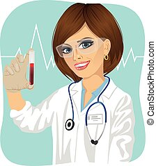 young female scientist wearing protective glasses holding test tube with red chemical liquid