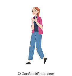 Young Female Showing Rejection and Refusal Gesture with Her Hands Vector Illustration. Woman Demonstrating Antagonism and Zero Tolerance