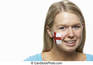 Young Female Sports Fan With St Georges Flag Painted On Face