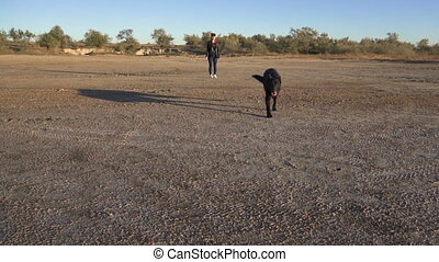 Young female standing while her black german shepherd dog is...