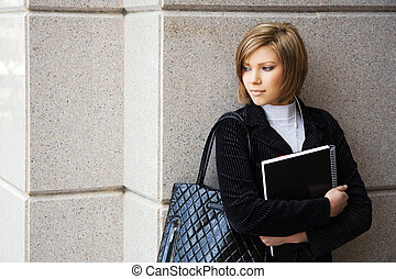 Young female student before exam
