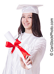 Young female student  on white
