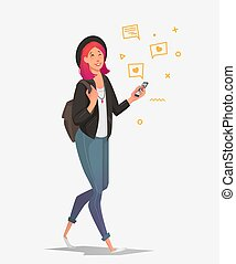 Young female student with a phone communicates in social networks.