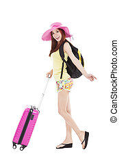 young female styled in summer outfit  with travel case