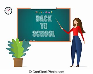 Young female teacher holding a pointer and pointing to a blackboard. Welcome back to school concept. Vector illustration