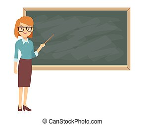 Young female teacher on lesson at blackboard in classroom. ...