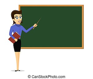 Young female teacher standing next to a chalkboard
