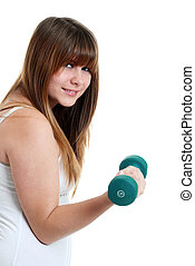 Young female teen working out