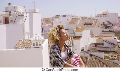 Young female tourist enjoying the view