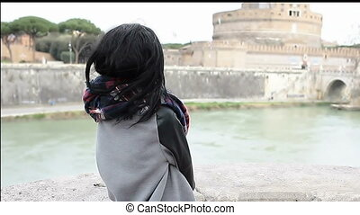 Young Female Tourist In Rome - Young cheerful mixed race...