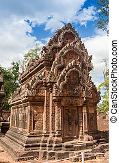 blue sky near the entrance to ancient Preah Khan temple in Angkor. Siem Reap, Cambodia.