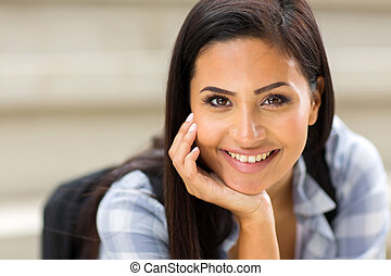 young female university student closeup