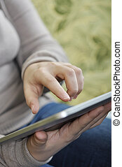 female using tablet pc