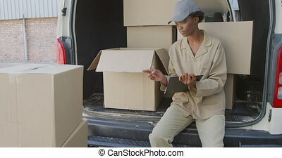 Young female van driver with a warehouse delivery