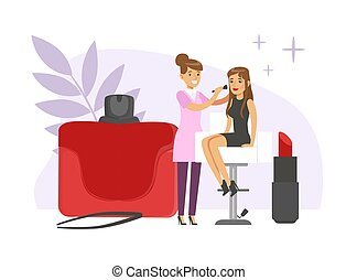 Young Female Visagiste Applying Makeup to Client in Beauty Salon Vector Illustration. Woman Working in Beauty Parlour Concept