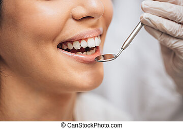 young female visit dentist, have ideal teeth