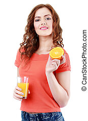 Young female with orange and glass of juice, on white background