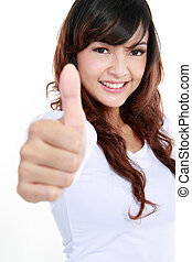 young female with thumbs up