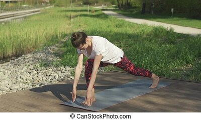 Young female yoga practitioner doing exercise - Young...