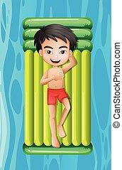 young fiú, bágyasztó, képben látható, tavacska úszó