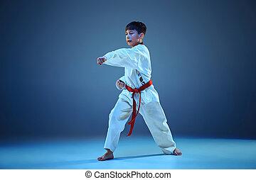 young fiú, képzés, karate, képben látható, blue háttér