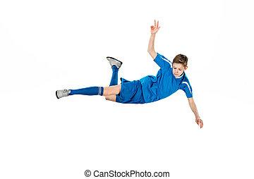 young fiú, noha, focilabda, cselekedet, repülés, megrúg