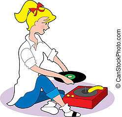 Young fifties style girl playing records on a phonograph