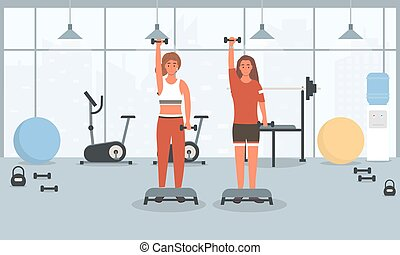 Young fit guy and girl doing fitness