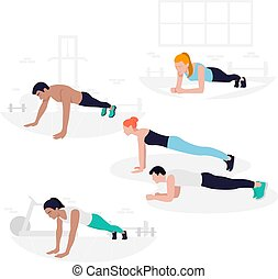 Young Fit people doing plank exercise. Core workout, loss...