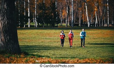 Young fit people running in the park. Run towards the camera