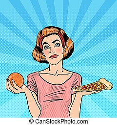 Young Fit Pop Art Woman Choosing Between Healthy and Unhealthy Food - Orange and Pizza. Vector illustration
