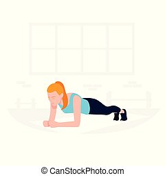 Young Fit woman doing plank exercise. Core workout, loss...