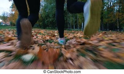 Young fit women running away from the camera in the autumn park. Only legs shown