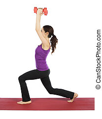 Young fitness woman is doing lunge with dumbbells.